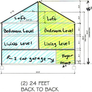 Section shows how two dwellings fit in a single building footprint; garages are on the grade level beneath the living and bedroom levels.